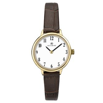 Accurist Ladies' Brown Leather Strap Watch - Product number 4256999