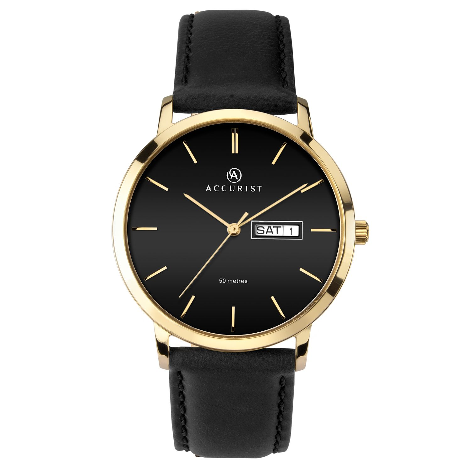 Accurist Men's Black Leather Strap Watch - Product number 4257030