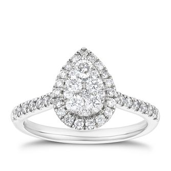Platinum 2/3ct Diamond Pear Halo Ring - Product number 4262743