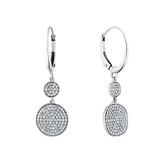 Sterling Silver 2/5ct Diamond Disc Drop Earrings - Product number 4263340