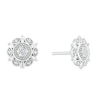 Sterling Silver 1/5ct Round & Baguette Diamond Stud Earrings - Product number 4263367