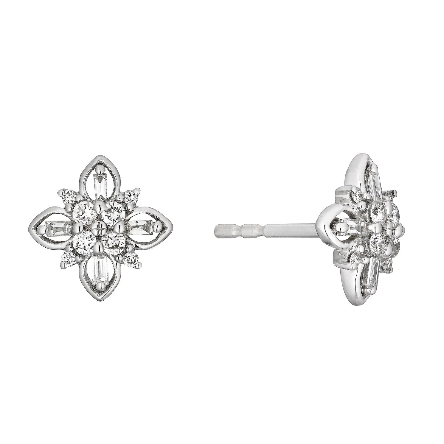 9ct White Gold 1/5ct Diamond Flower Stud Earrings - Product number 4263375