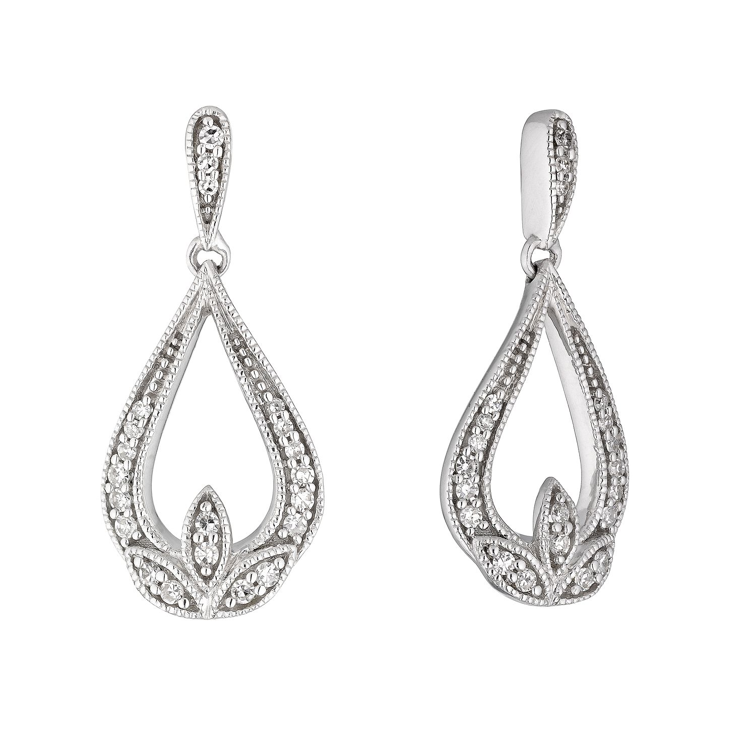 Sterling Silver 0.15ct Diamond Fancy Drop Earrings - Product number 4263383