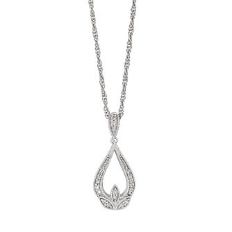 Sterling Silver 1/10ct Diamond Fancy Drop Pendant - Product number 4263413