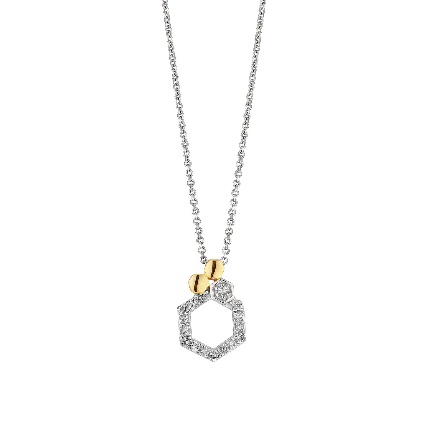 Two Tone 1/10ct Diamond Honeycomb Pendant - Product number 4263456