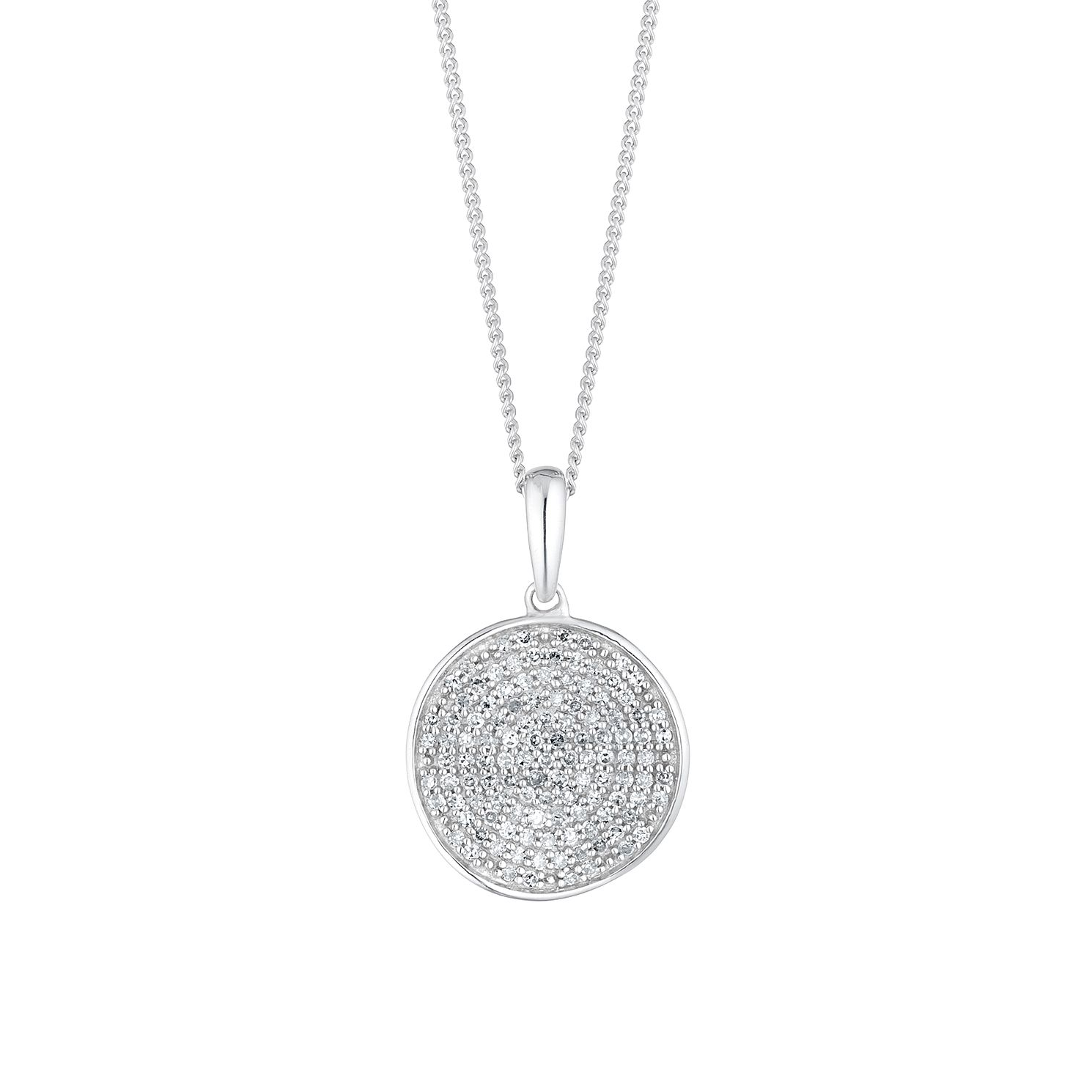 Sterling Silver 1/5ct Diamond Disc Pendant - Product number 4263464