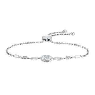 Sterling Silver 1/5ct Diamond Adjustable Bracelet - Product number 4263472