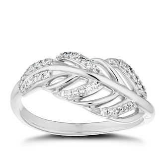 Sterling Silver 1/10ct Diamond Feather Ring - Product number 4263480