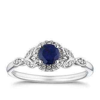 18ct White Gold Sapphire & 0.10ct Diamond Halo Ring - Product number 4264983
