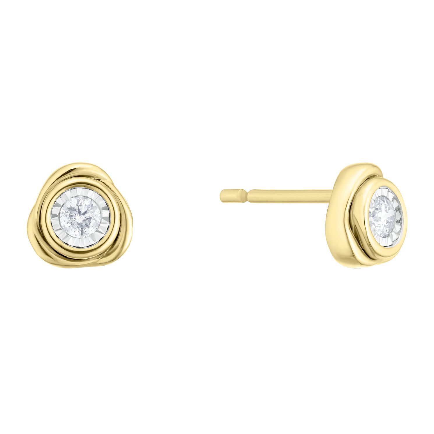 9ct Yellow Gold Diamond Knot Stud Earrings - Product number 4266307