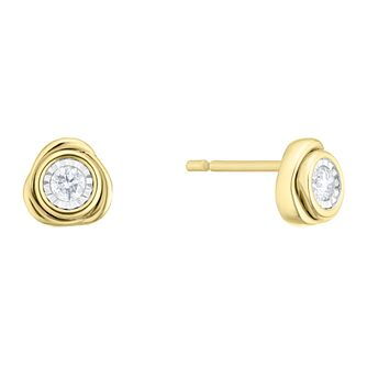 9ct Yellow Gold 0.13ct Diamond Knot Stud Earrings - Product number 4266307