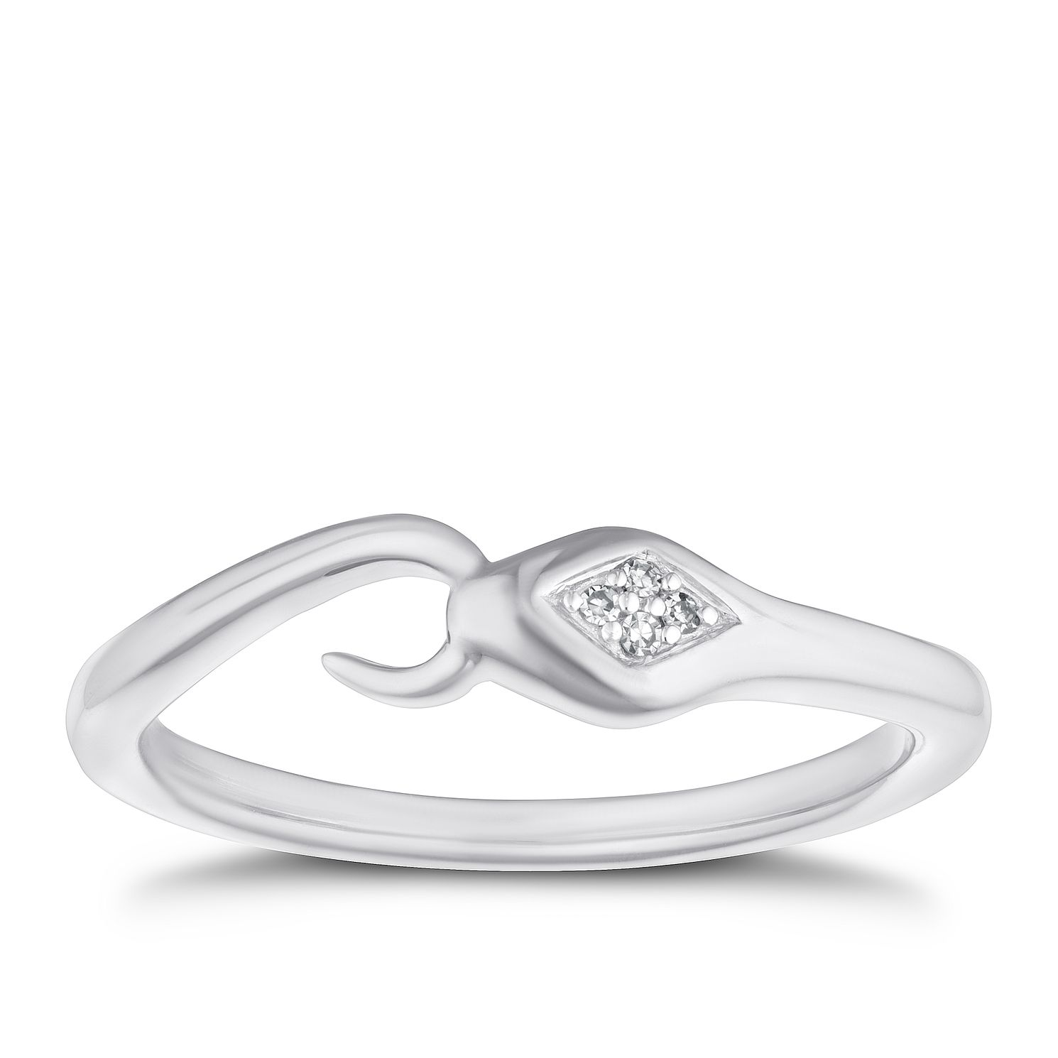 9ct White Gold Diamond Snake Ring - Product number 4267311