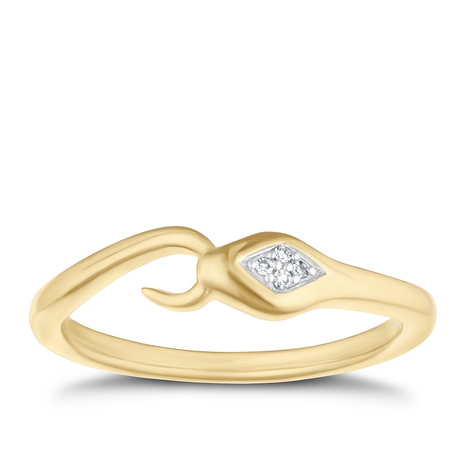 9ct Yellow Gold Diamond Snake Ring - Product number 4267451