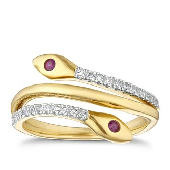 9ct Yellow Gold Ruby & Diamond Snake Ring - Product number 4268075