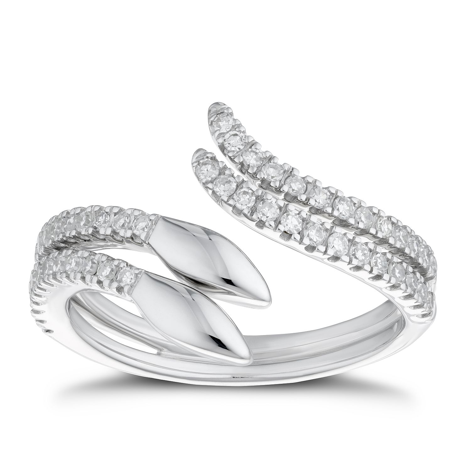 9ct White Gold 1/3ct Diamond Snake Ring - Product number 4268253