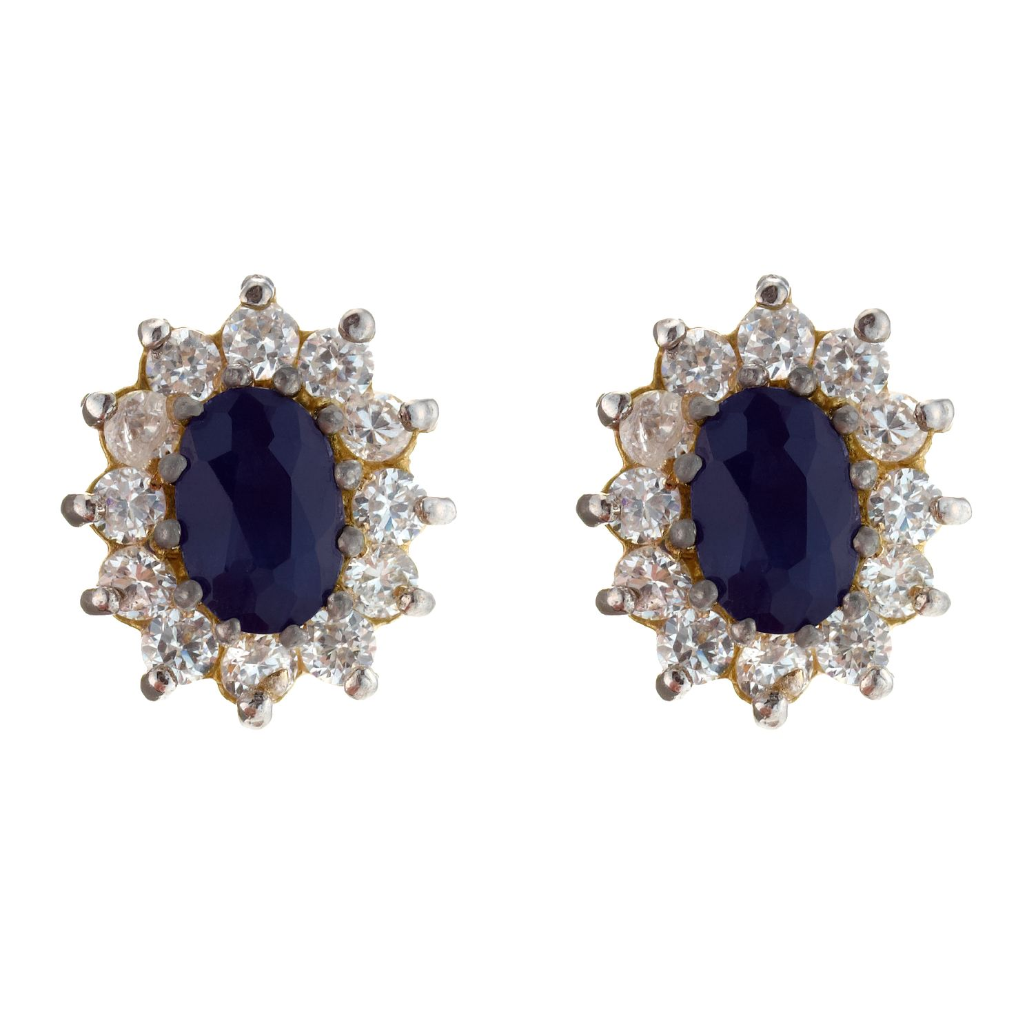 9ct Gold Sapphire & Cubic Zirconia Oval Cluster Earrings - Product number 4268369
