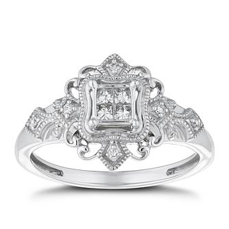 Sterling Silver 0.15ct Total Diamond Fancy Ring - Product number 4268504