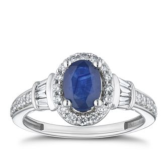 18ct White Gold 0.45ct Diamond & Sapphire Halo Ring - Product number 4268652
