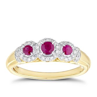 9ct Yellow Gold Ruby & 0.14ct Diamond Trio Ring - Product number 4268784
