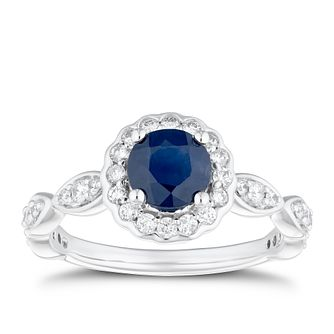 18ct White Gold 1/3ct Diamond & Sapphire Halo Ring - Product number 4268911