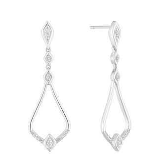 Sterling Silver 1/10ct Diamond Fancy Drop Earrings - Product number 4269845