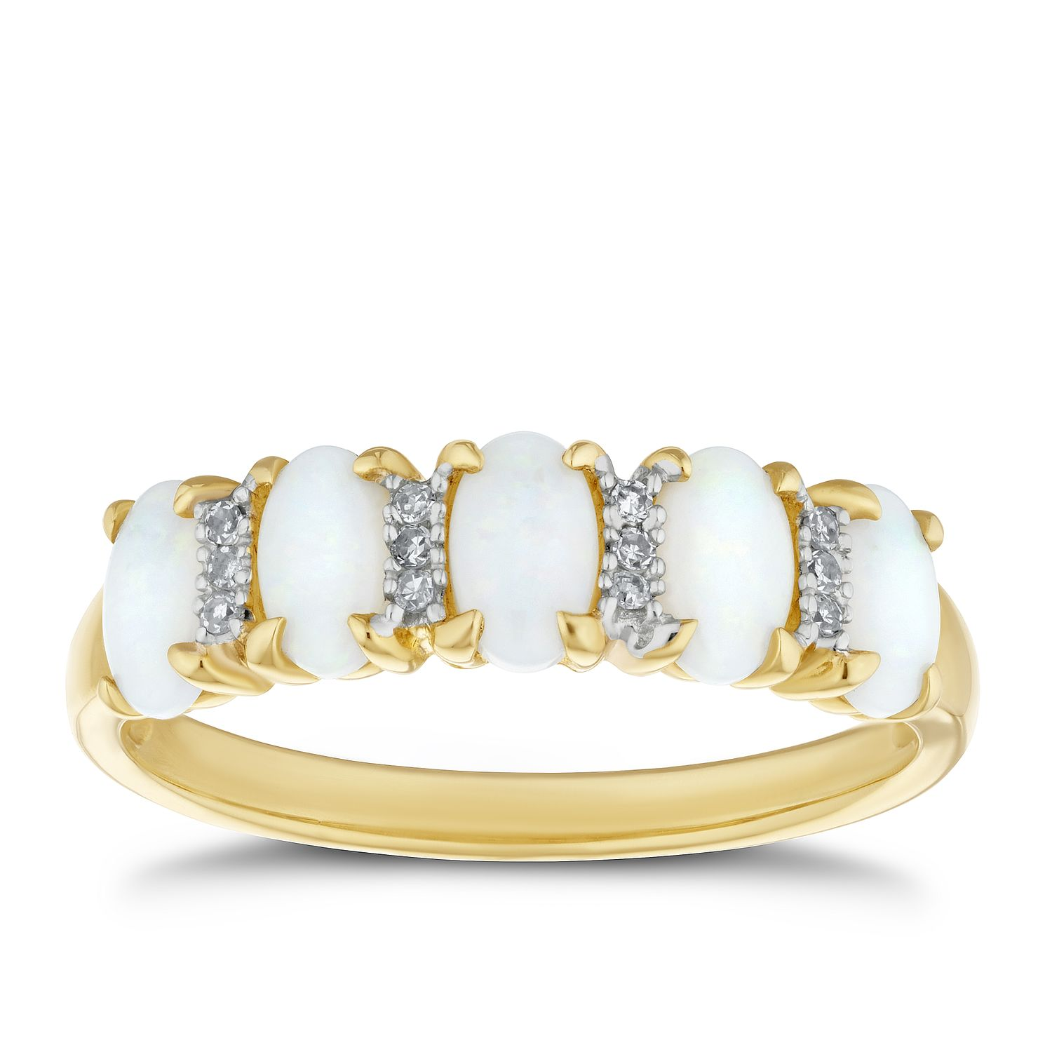 9ct Yellow Gold Diamond & Opal Eternity Ring - Product number 4269853