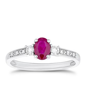 9ct White Gold Ruby & 0.14ct Diamond Ring - Product number 4270096