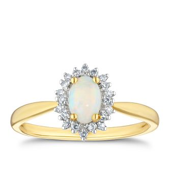 9ct Yellow Gold Diamond & Opal Oval Halo Ring - Product number 4270312