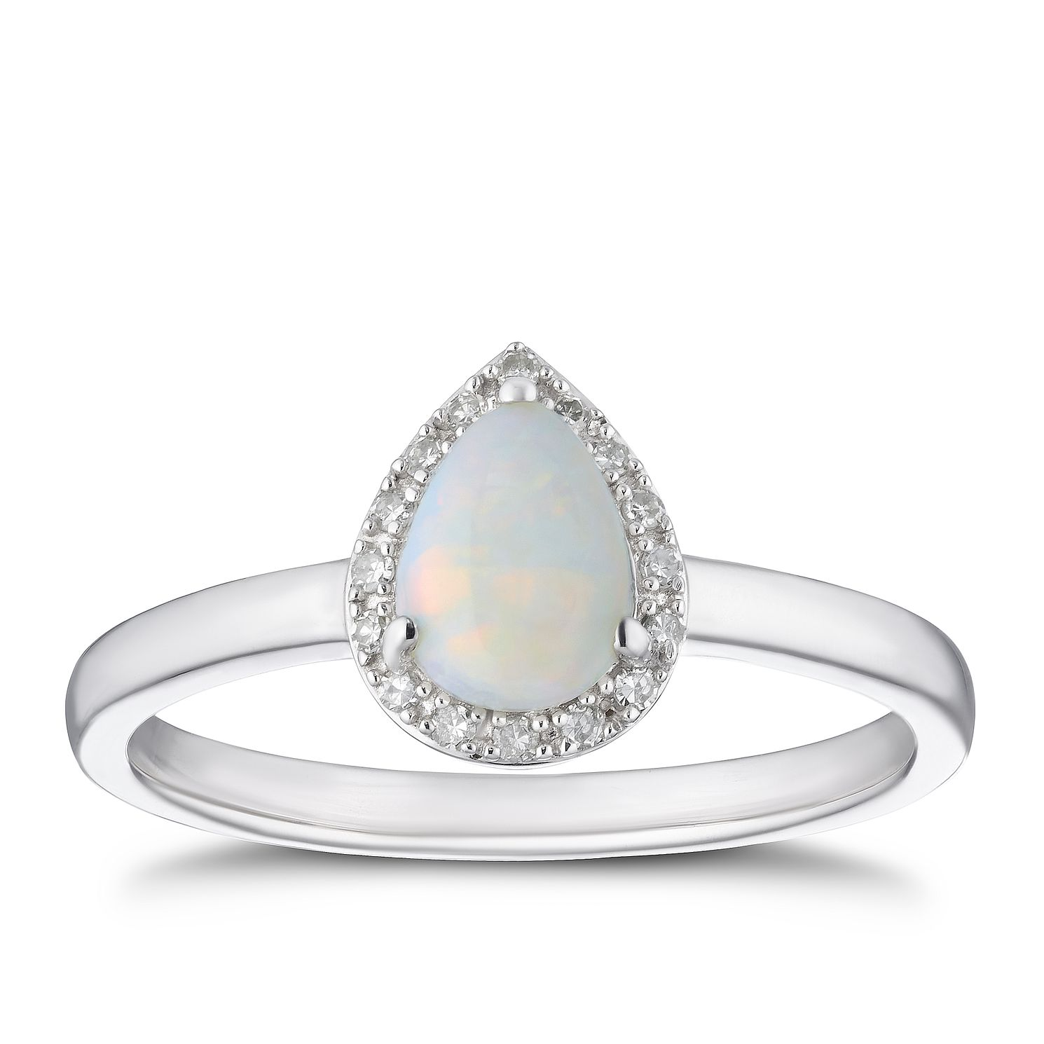 9ct White Gold Diamond Opal Pear Halo Ring Ernest Jones