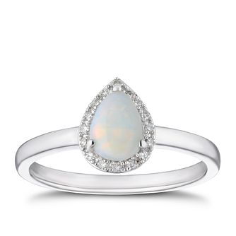 9ct White Gold Opal & Diamond Pear Halo Ring - Product number 4270452