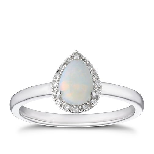 9ct White Gold Diamond & Opal Pear Halo Ring - Product number 4270452