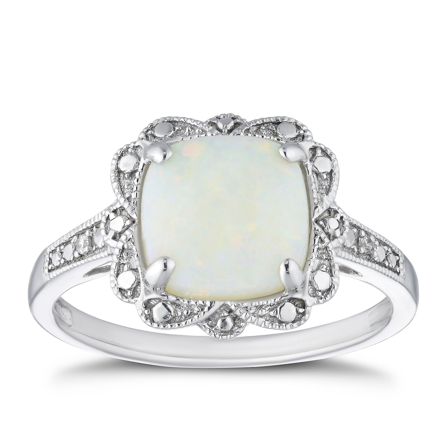 9ct White Gold Diamond & Opal Cushion Halo Ring - Product number 4270606