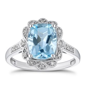 9ct White Gold Diamond & Sky Blue Topaz Fancy Ring - Product number 4270770
