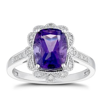 9ct White Gold Diamond & Amethyst Fancy Ring - Product number 4270959