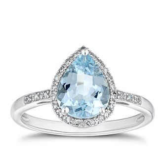 9ct White Gold 1/10ct Diamond & Aquamarine Pear Ring - Product number 4271114