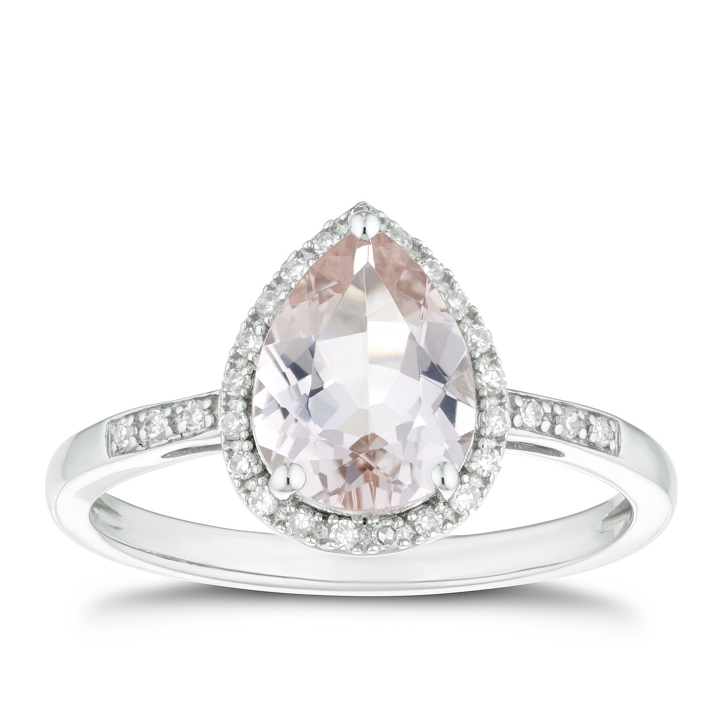 9ct White Gold 1/10ct Diamond & Morganite Pear Ring - Product number 4271270