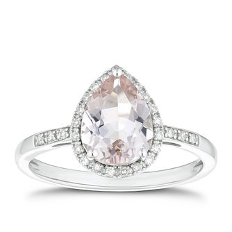 9ct White Gold Morganite & 0.10ct Diamond Pear Ring - Product number 4271270