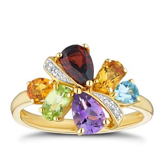 9ct Yellow Gold Diamond & Multi Stone Ring - Product number 4272013