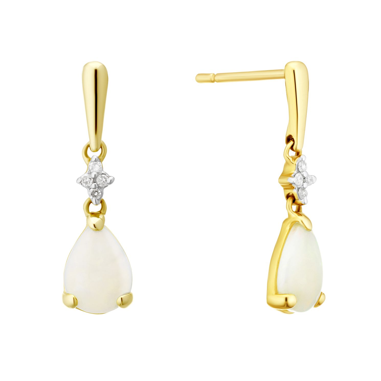 9ct Yellow Gold Opal & Diamond Drop Earrings - Product number 4272749