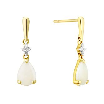 008912670c5 9ct Yellow Gold Opal   Diamond Drop Earrings - Product number 4272749