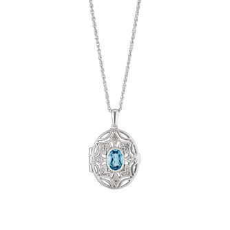 Sterling Silver Diamond & Blue Topaz Locket - Product number 4272773