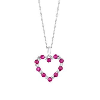 9ct White Gold Diamond & Ruby Open Heart Pendant - Product number 4272927