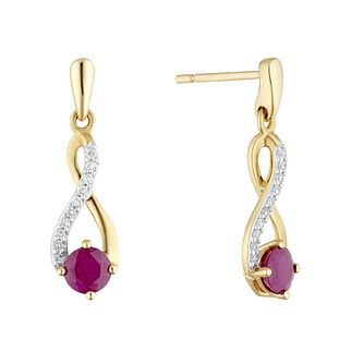 9ct Yellow Gold Diamond & Ruby Infinity Symbol Drop Earrings - Product number 4272943
