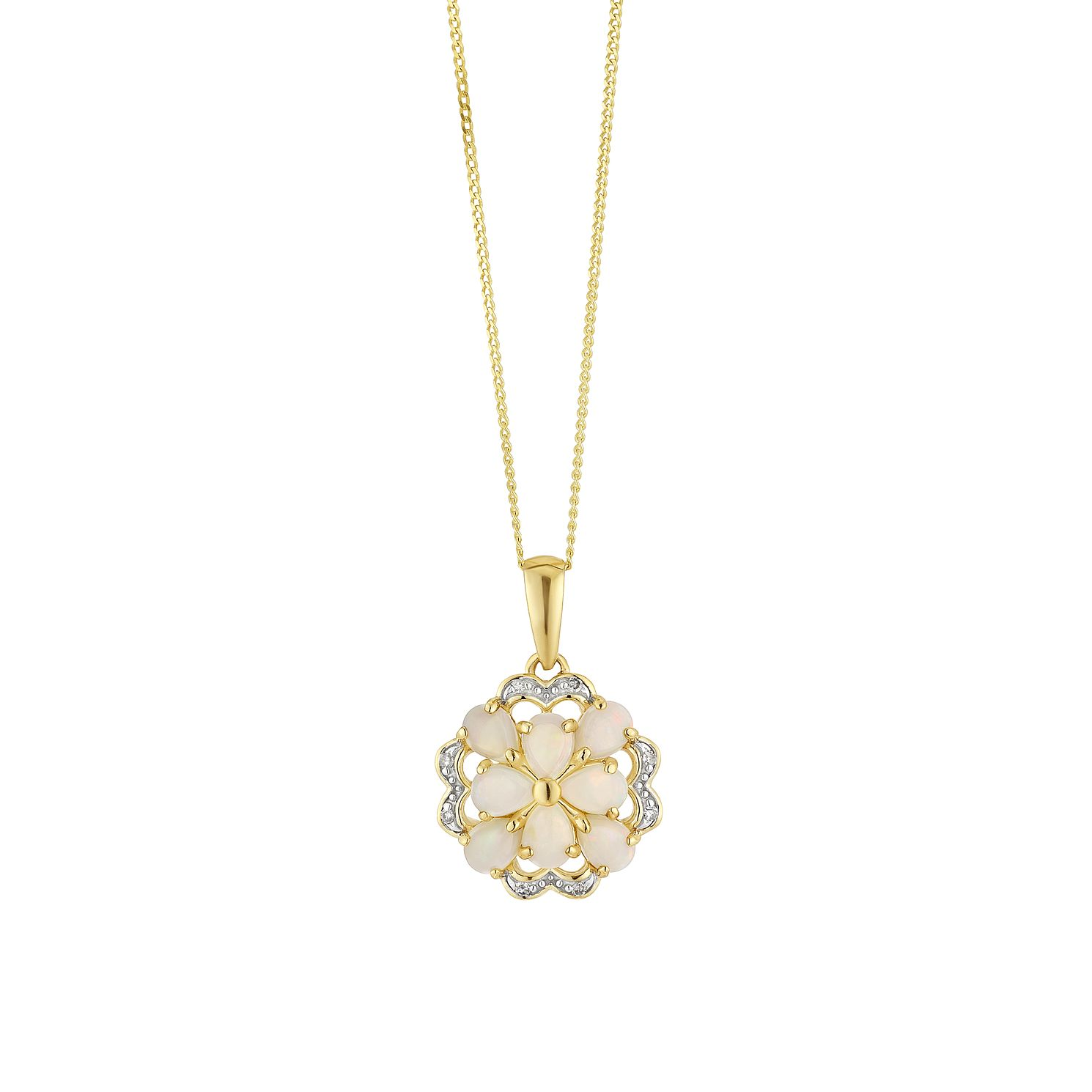 9ct Yellow Gold Diamond & Opal Flower Pendant - Product number 4272951