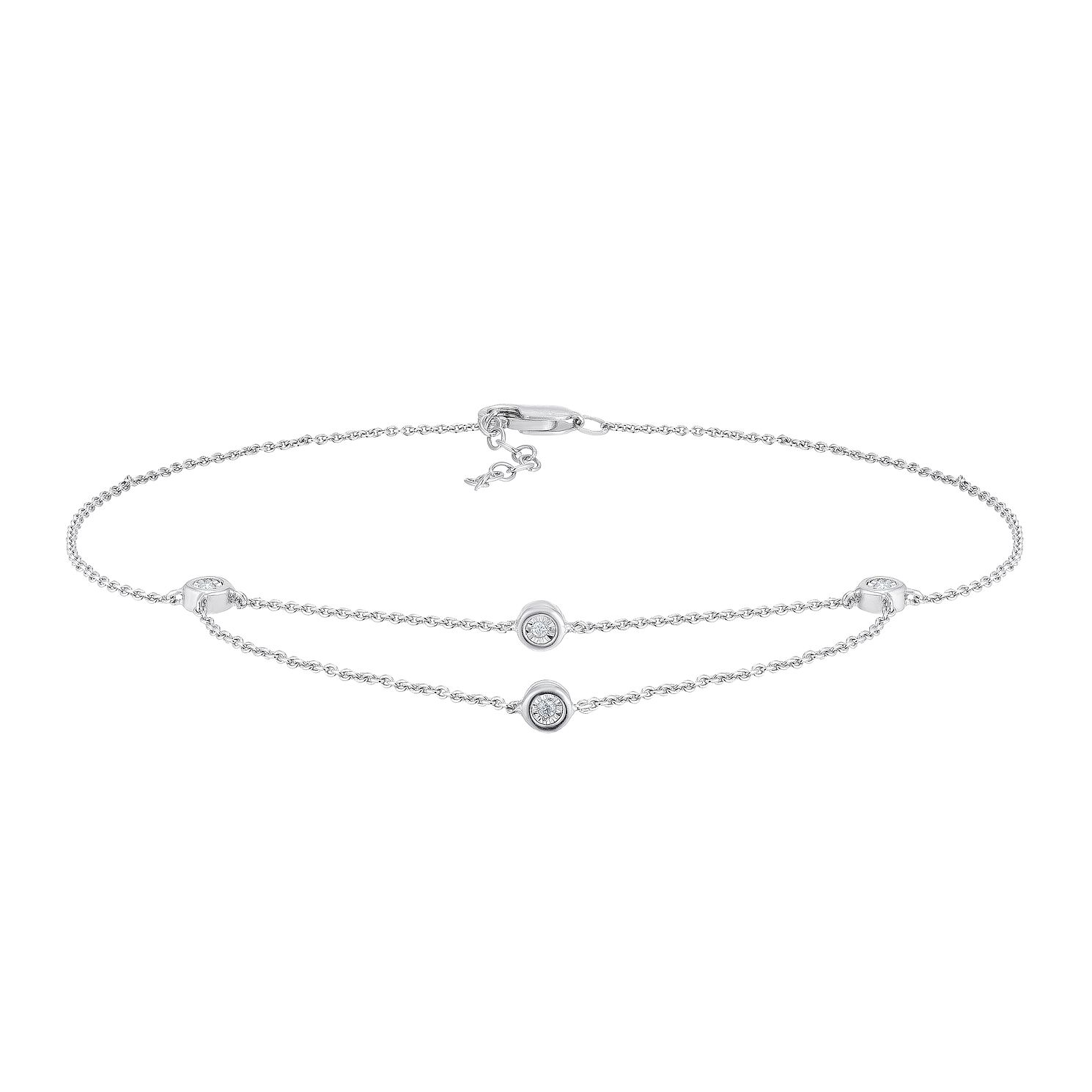 Sterling Silver Diamond Drape Anklet - Product number 4274806