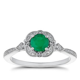 9ct White Gold Emerald & Diamond Fancy Ring - Product number 4276760