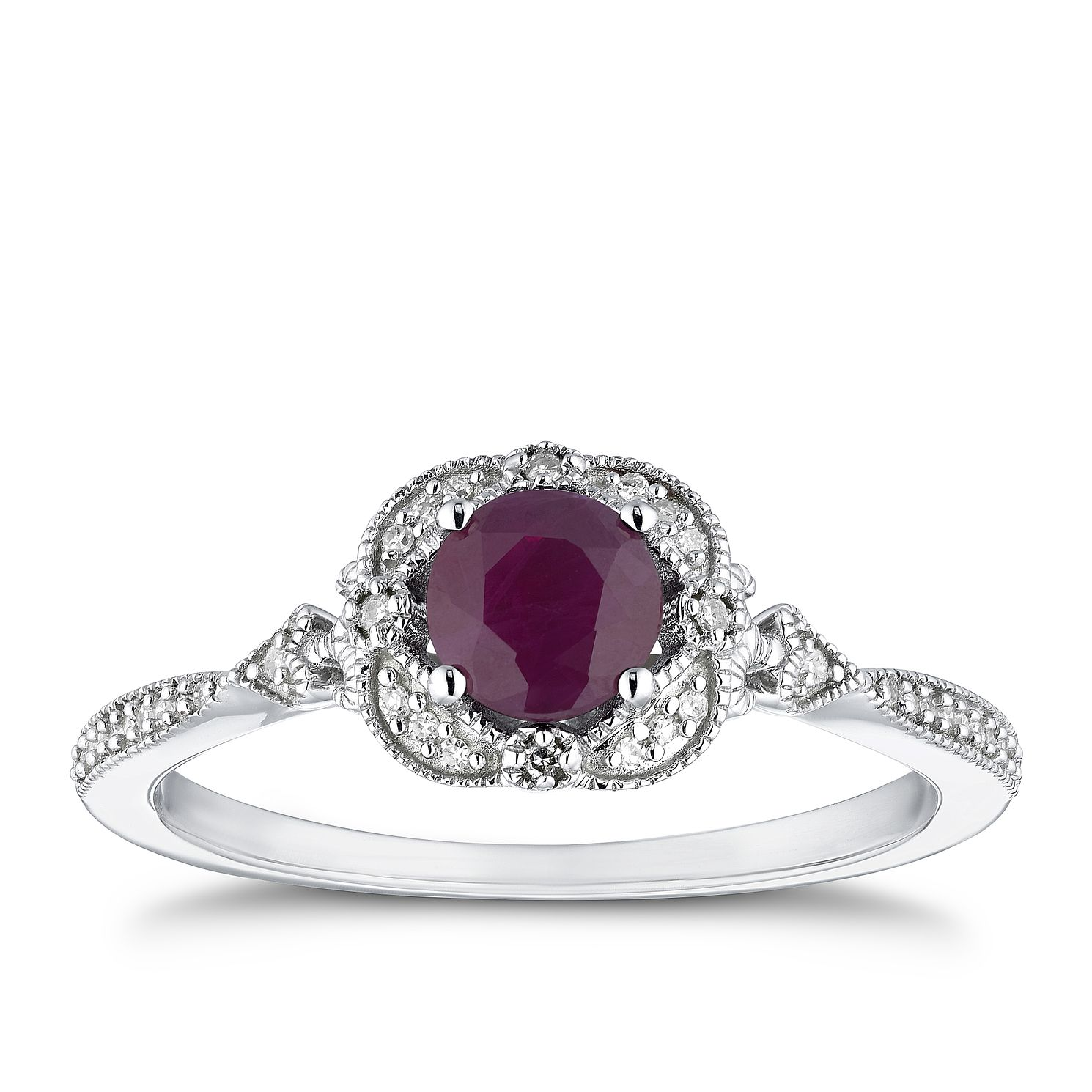 9ct White Gold Diamond & Ruby Fancy Ring - Product number 4277619