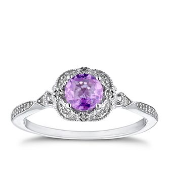 9ct White Gold Diamond & Pink Sapphire Fancy Ring - Product number 4278208