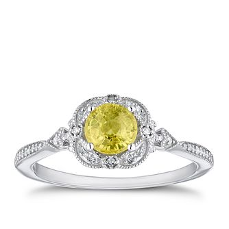 9ct White Gold Diamond & Yellow Sapphire Fancy Ring - Product number 4278364