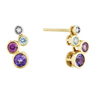 9ct Yellow Gold Diamond & Multi Stone Stud Earrings - Product number 4278534